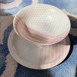 Vintage CHURCHILL Pink White 2 Tier Serving Stand